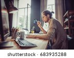 young freelancer working with... | Shutterstock . vector #683935288