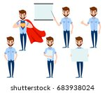 set of businessman character...   Shutterstock .eps vector #683938024