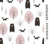 bear  fox and trees seamless...   Shutterstock .eps vector #683940304