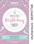 vector invitation card for kids ... | Shutterstock .eps vector #683947768