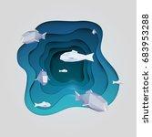 paper cut cartoon fish on water ... | Shutterstock .eps vector #683953288