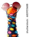 dappled colorful sock puppet... | Shutterstock . vector #683955688