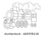 cartoon funny looking steam...   Shutterstock . vector #683958118