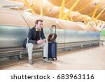 young man waiting listening... | Shutterstock . vector #683963116