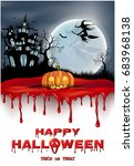halloween vertical background... | Shutterstock .eps vector #683968138