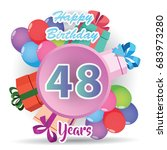 color full pink 48 th birthday...   Shutterstock .eps vector #683973280