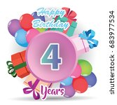 color full pink 4 th birthday...   Shutterstock .eps vector #683977534