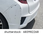the white car was hit on the... | Shutterstock . vector #683982268