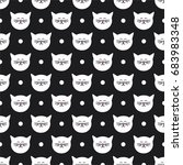 Stock vector tile vector pattern with white cats and polka dots on black background 683983348