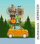 travelling by car. planning... | Shutterstock .eps vector #683984134