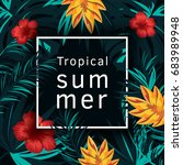 tropical vector poster with... | Shutterstock .eps vector #683989948