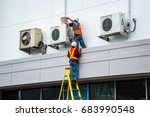 air conditioning technician are ... | Shutterstock . vector #683990548