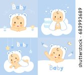 set baby with  bear towels ... | Shutterstock .eps vector #683993689