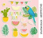 set of cute summer stickers.... | Shutterstock .eps vector #683993740