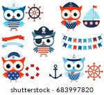 vector nautical set with cute... | Shutterstock .eps vector #683997820
