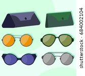 colorful and modern sunglasses ...   Shutterstock .eps vector #684002104