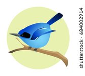 colorful blue bird on a branch  ...   Shutterstock .eps vector #684002914