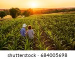 top view. a farmer and his wife ... | Shutterstock . vector #684005698