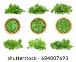 top view of fresh coriander... | Shutterstock . vector #684007693
