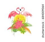 beautiful wedding hawaiian... | Shutterstock . vector #684009064