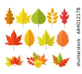 autumn leaves set in flat style ... | Shutterstock .eps vector #684012178