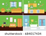 set of vector interiors with... | Shutterstock .eps vector #684017434