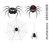set of cartoon spiders. vector...