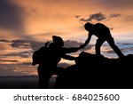 two friends helping each other... | Shutterstock . vector #684025600