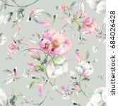 Stock photo watercolor seamless pattern of light flowers u 684026428