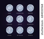 crypto currency icons coin. set ... | Shutterstock .eps vector #684033568