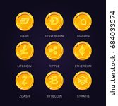 crypto currency icons coin. set ...