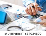 healthcare costs and fees... | Shutterstock . vector #684034870