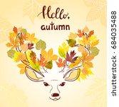 beautiful sketch deer with... | Shutterstock .eps vector #684035488