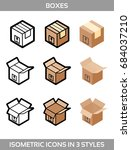 isometric carton packaging... | Shutterstock .eps vector #684037210