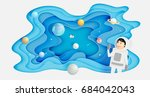 astronaut with universe... | Shutterstock .eps vector #684042043