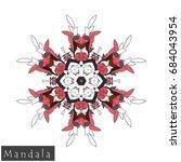 floral symmetrical geometrical... | Shutterstock .eps vector #684043954