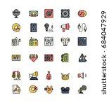 record studio lineal color... | Shutterstock .eps vector #684047929