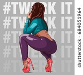 attractive girl on high heels... | Shutterstock .eps vector #684051964