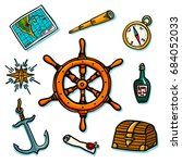 marine set. shipboard equipment ... | Shutterstock .eps vector #684052033