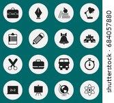 set of 16 editable knowledge... | Shutterstock .eps vector #684057880