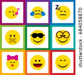 flat icon expression set of... | Shutterstock .eps vector #684058870