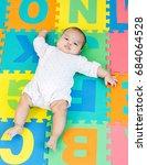 portrait of a little adorable... | Shutterstock . vector #684064528