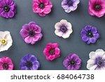 anemone floral pattern.... | Shutterstock . vector #684064738