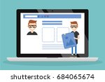 edit your profile. conceptual... | Shutterstock .eps vector #684065674
