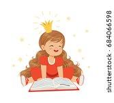lovely little girl in a crown... | Shutterstock .eps vector #684066598