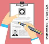 doctor holding clipboard and... | Shutterstock .eps vector #684069526