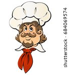 caricature french chef is very... | Shutterstock .eps vector #684069574