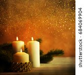 christmas candles and ornaments ...   Shutterstock . vector #684069904