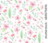 flowers and leaves wallpaper... | Shutterstock . vector #684070696