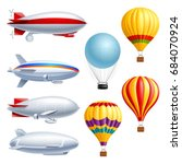 airship realistic icon set with ...